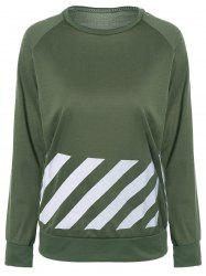 Raglan Sleeve Striped Sweatshirt