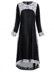 Lace Insert Maxi Asymmetric Long Sleeve Dress