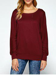 Dolman Sleeve Button Embellished Sweatshirt -
