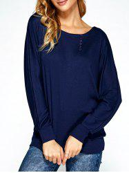 Dolman Sleeve Button Embellished Sweatshirt