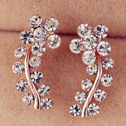 Rhinestoned Flower Leaf Earrings -