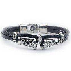Engraved Alloy Artificial Leather Bracelet - BLACK