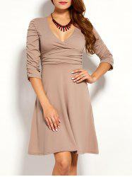 Ruched Plunge Skater Dress