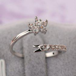 Rhinestone Flower Cuff Ring -