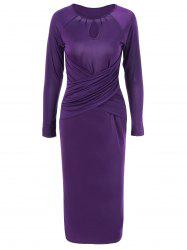 Midi Bodycon Keyhole Collar Dress With Sleeves