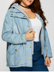 Plus Size Hooded Button Up Denim Coat