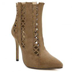 Pointed Toe Cut Out Ankle Boots -