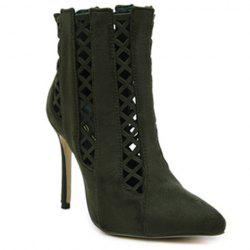 Pointed Toe Cut Out Ankle Boots - ARMY GREEN