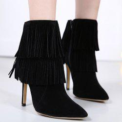 Multi Fringe Stiletto Heel Boots