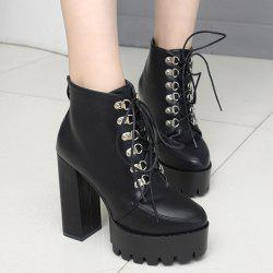 High Heel Lace Up Platform Ankle Boots - BLACK