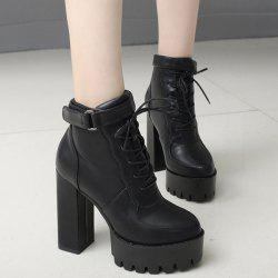 PU Leather Chunky Heel Platform Ankle Boots -
