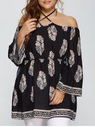 Plus Size Club Printed Halter Flare Sleeve Dress - BLACK XL