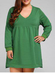 Plus Size Long Sleeve Slit Shift Dress