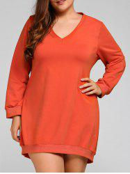 Plus Size V Neck Long Sleeve Dress