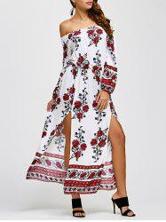 Off The Shoulder Floral Print Slit Dress -