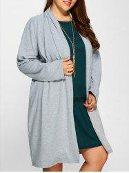 Plus Size Collarless Casual Loose Coat - GRAY