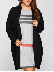 Plus Size Collarless Casual Loose Coat - BLACK
