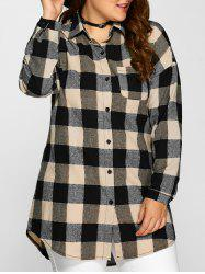 Plus Size Plaid Long Shirt - DARK KHAKI 5XL