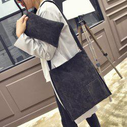 Concise Faux Suede Shoulder Bag - GRAY