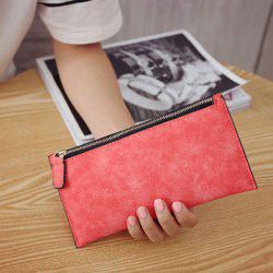 PU Leather Zip Up Coin Purse - WATERMELON RED