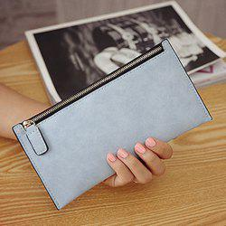 PU Leather Zip Up Coin Purse - BLUE GRAY