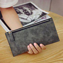PU Leather Zip Up Coin Purse - DEEP GRAY