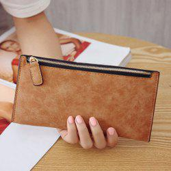 PU Leather Zip Up Coin Purse - LIGHT BROWN