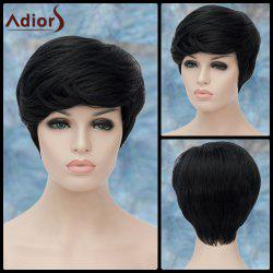 Adiors Short Shaggy Straight Side Bang Synthetic Wig