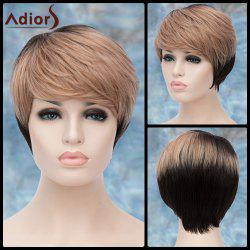 Adiors Short Layered Highlight Inclined Bang Straight Synthetic Wig