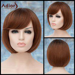 Adiors Short Ombre Inclined Bang Straight Bob Synthetic Wig