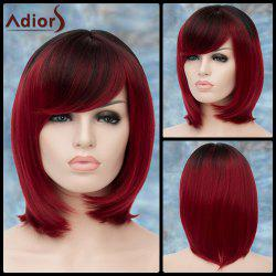 Adiors Short Ombre Oblique Bang Straight Bob Synthetic Wig
