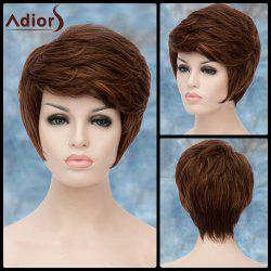 Adiors Short Highlight Shaggy Oblique Bang Straight Synthetic Wig