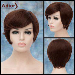 Adiors Short Side Bang Silky Straight Bob Synthetic Wig