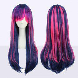Stunning Long Neat Bang Straight Double Color Synthetic Cosplay Wig - COLORMIX