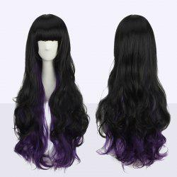 Stunning Long Neat Bang Wavy Double Color Synthetic Cosplay Wig - BLACK AND PURPLE