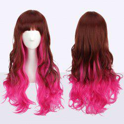 Long Neat Bang Fluffy Wavy Double Color Synthetic Cosplay Wig