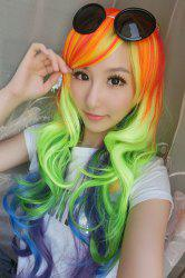 Long Side Bang Wavy Cosplay Lolita Rainbow Synthetic Wig