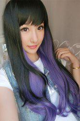 Long Double Color Side Bang Slightly Wavy Synthetic Cosplay Wig -