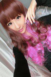 Long Neat Bang Fluffy Wavy Cosplay Synthetic Wig - COLORMIX