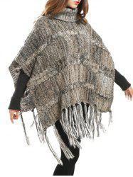 Turtleneck Asymmetric Fringed Knit Cape Sweater -