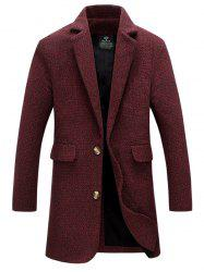 Flap Pocket Lapel Tweed Wool Mix Coat - DARK RED XL