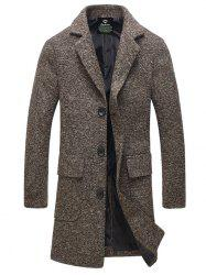 Lapel Flap Pocket Tweed Wool Mix Coat