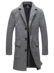 Lapel Flap Pocket Tweed Wool Mix Coat - GRAY
