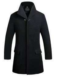 Button Up Flap Pocket Wool Mix Coat