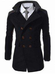 Knitted Collar Double Breasted Spliced Wool Mix Coat - BLACK