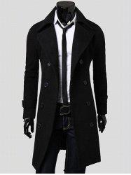 Double Breasted Overcoat with Side Pockets - BLACK