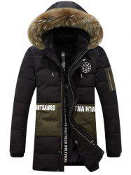 Printed Faux Fur Hooded Paneled Zippered Padded Coat -