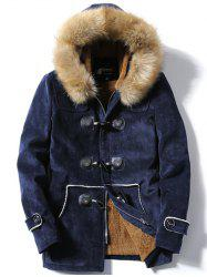 Faux Fur Hooded Flocking Toggle Coat - CADETBLUE 3XL