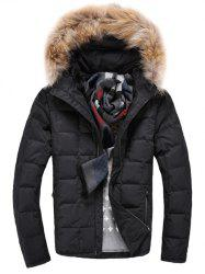 Faux Fur Knitted Hood Zippered Quilted Jacket - BLACK L
