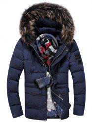 Pocket Front Zippered Faux Fur Hooded Padded Jacket